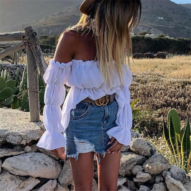 Blusa de chifón plisada con hombros descubiertos para mujer, camisa Sexy elegante de Color liso para oficina y calle, 2021 5