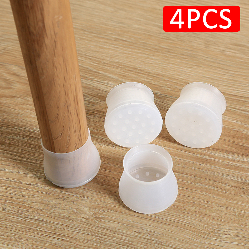 4 Pcs/Pack Stool Leg Protective Case Silicone Furniture Leg Protection Solid Wood Wear Pad Mute Wear-resistant Chair Foot Cover