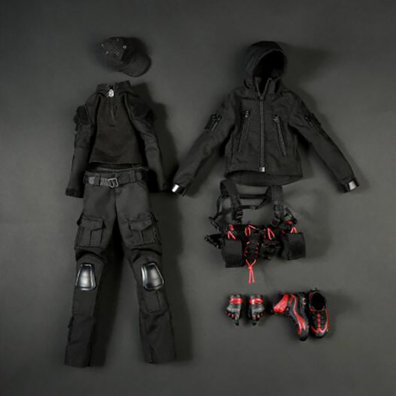 <font><b>1/6</b></font> <font><b>Scale</b></font> FG038 Dark Night Soldier <font><b>Female</b></font> Gunner <font><b>Female</b></font> Soldier <font><b>Clothes</b></font> Clothing Suit Set for 12