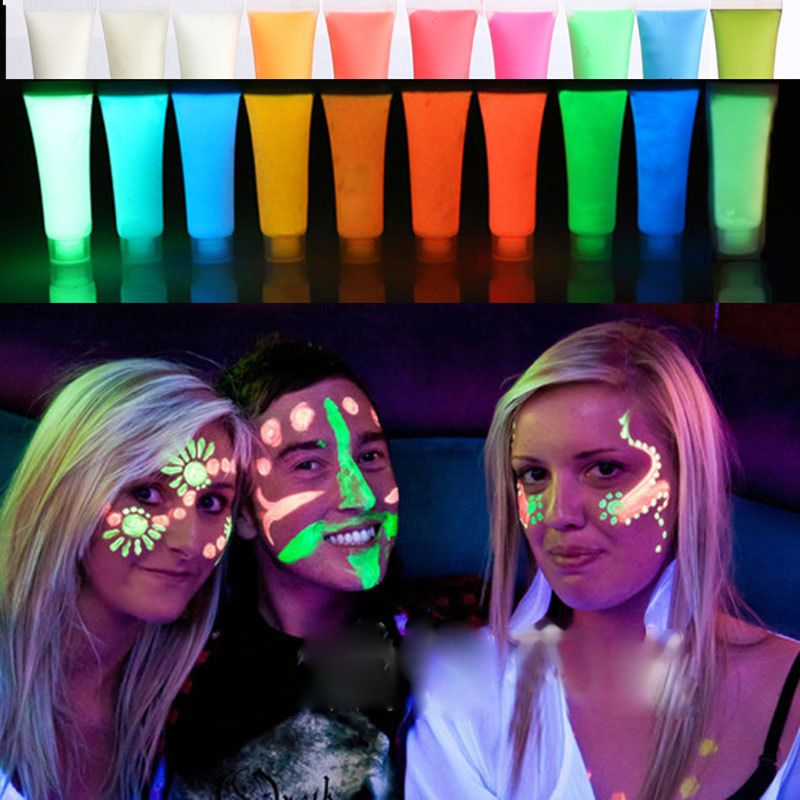 Body Pigment 15g Glow In The Dark Liquid Luminous Pigment Non-Toxic Blacklight Face Paint Makeup Pigment Powder