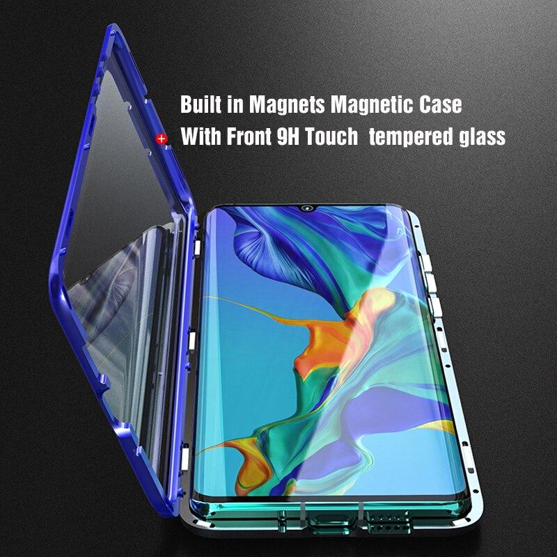 Luxo capa protetora de corpo inteiro magnética para huawei p30 pro p20 mate 20 pro 360 vidro temperado capa traseira huawei p30pro caso em