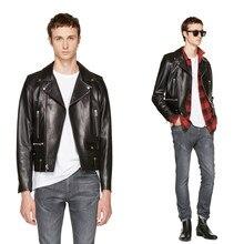 Freies verschiffen. mode männer echt leder jacke. klassische kühle biker schaffell mantel. qualität dünne outwear.mo tor kleidung. großhandel