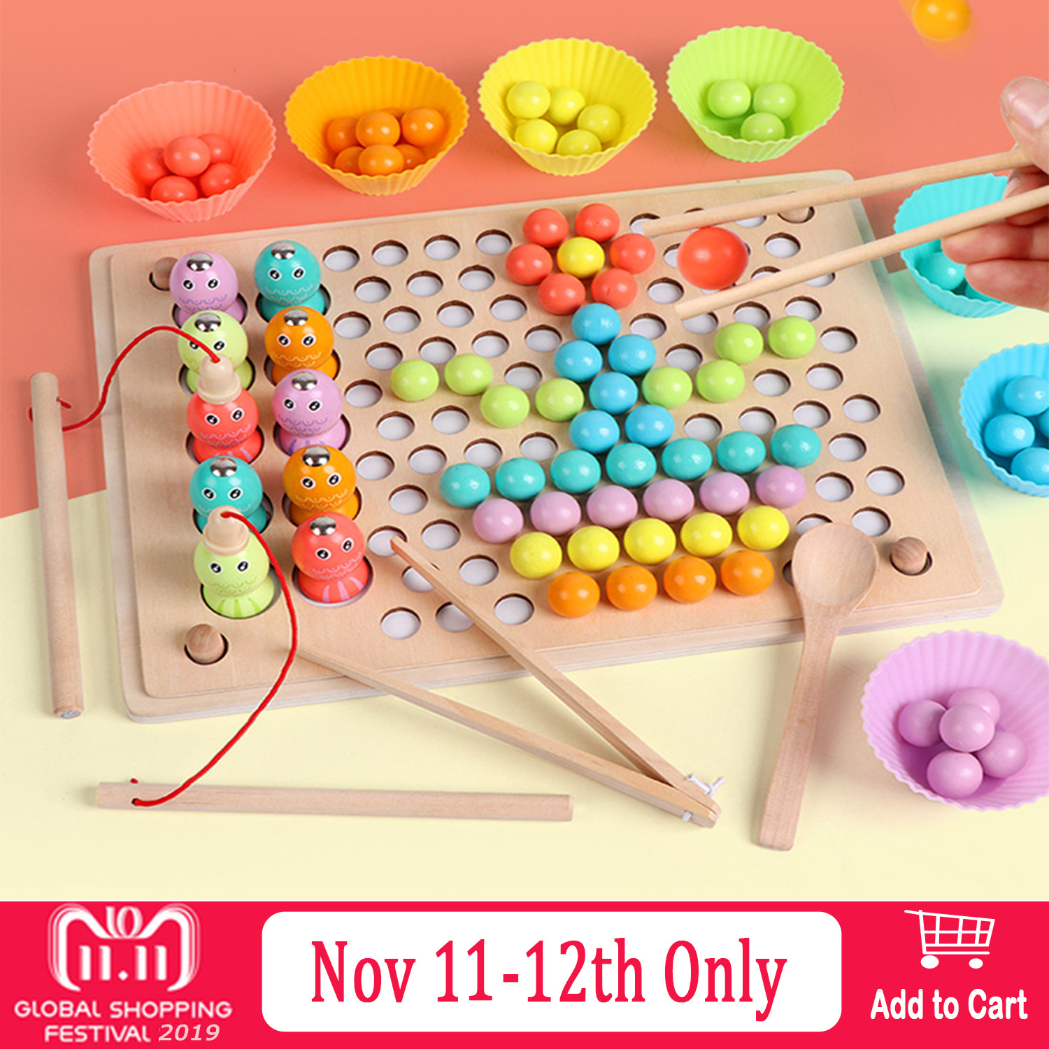 Kids Montessori Wooden Clip Beads Fishing Magnetic Fishing Game Chopstick Bead Color Sorting Matching Puzzle Board Education Toy