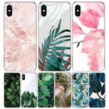 Tropikalna roślina zielony liść kwiat okładka etui na telefony dla iPhone 11 12 Mini Pro 7 6X8 6S Plus XS MAX + XR 5S SE 10 dziesięć sztuki TPU Coq