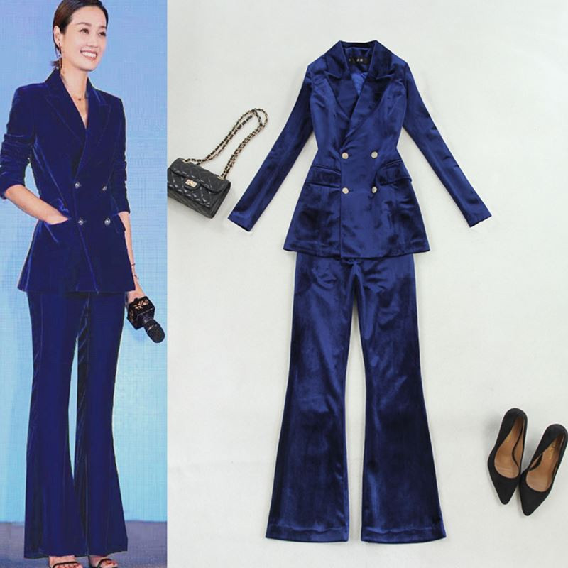 Women's Blouse And Trousers Suit Autumn New Long-sleeved Waist Double-breasted Suit + Trousers Trousers Blue Velvet Suit