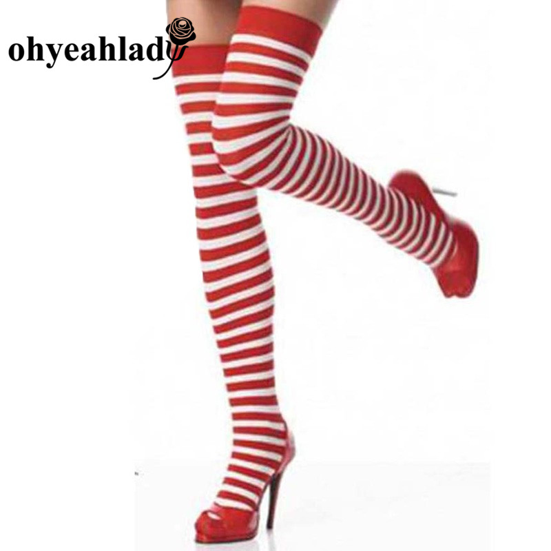 Ohyeahlady Striped Thigh High Stockings Women Sexy Christmas Tight Calcetas Largas Mujer Cotton Elastic Over Knee Exotic SJ9001