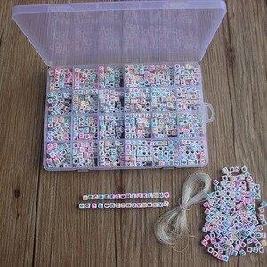 Image 4 - 1200 шт. кубические Акриловые Бусины, буквы для детей, сделай сам, ожерелье, браслеты, материал из бисера, пластиковые бусины с буквами, набор коробок