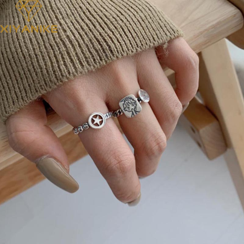 XIYANIKE 925 Sterling Silver Creative Geometric Party Rings For Women Wedding Couple Vintage Handmade Finger Jewelry