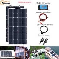 Boguang Brand Solar panel 2 pièces 100w 200W Flexible panneau solaire Module de cellule système RV voiture Marine bateau usage domestique 12 V/24 V kit de bricolage panneaux solaires panneau solaire
