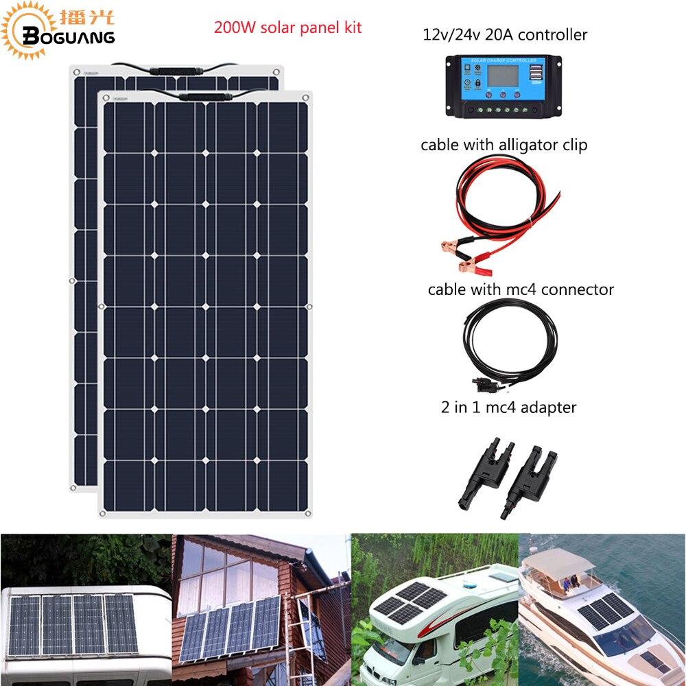 Boguang Brand Solar panel 2pcs 100w Sistema de Painel Solar Flexível 200W Módulo da Célula Carro RV Marine Boat Início Uso 12V /solpanel 24V DIY Kit painel Solar Painéis Solares