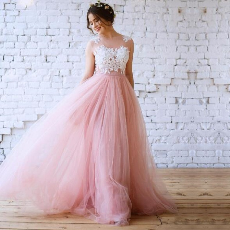 Pink Soft Tulle Wedding Gowns Scoop Neck A Line Lace Appliques Robe De Mariee Bride Dress Boho Wedding Dress
