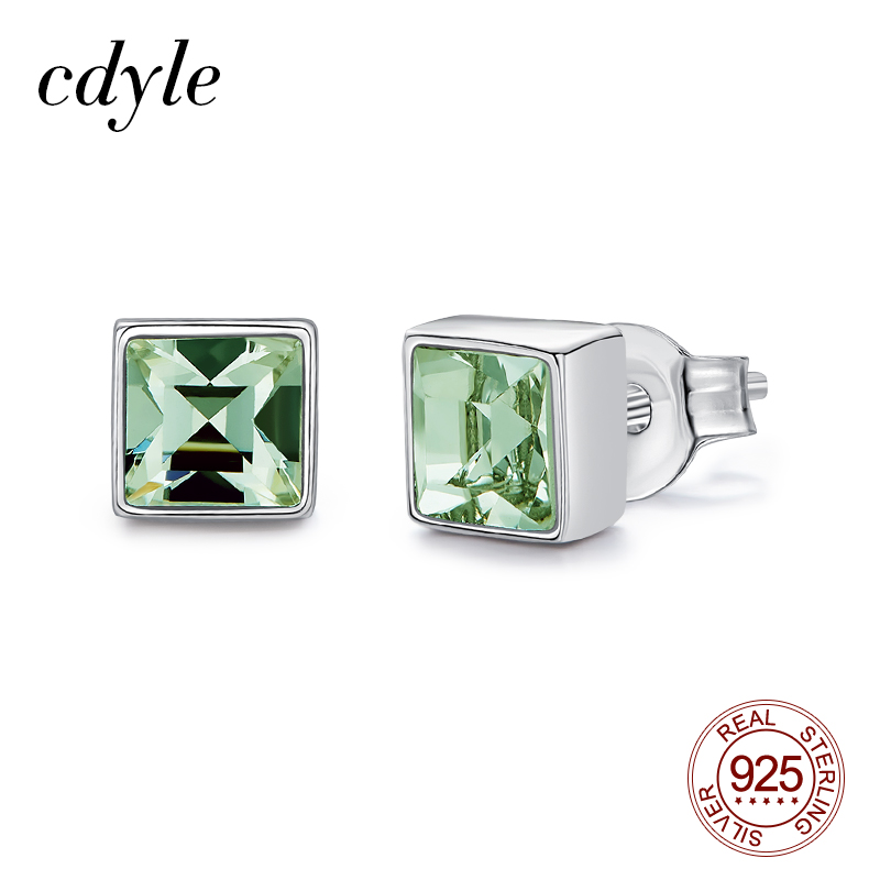 Cdyle Tiny Square Shape Chrysolite Crystal Studs Earrings 925 Sterling Silver Female Mini Small Children Earrings
