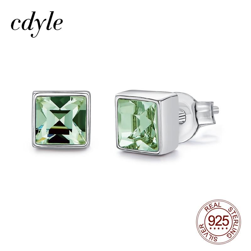 Cdyle Tiny Square Shape Chrysolite Crystal Studs Earrings 925 Sterling Silver Female Mini Small Children Earrings