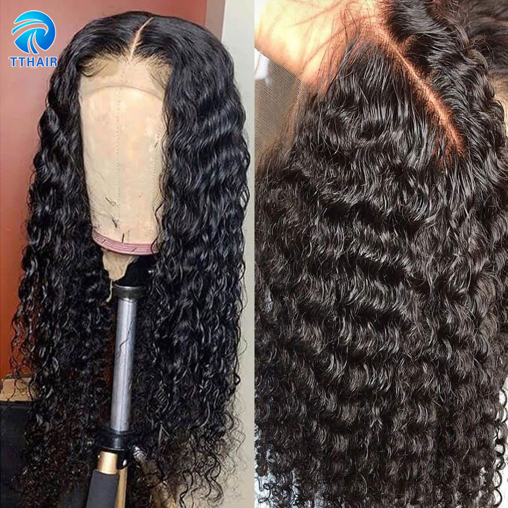 Deep Wave Wig Lace Front Human Hair Wigs For Women 4x4 Closure Wig 13x4 Lace Frontal Wig Indian 150 Remy Hair Wigs Pre Plucked