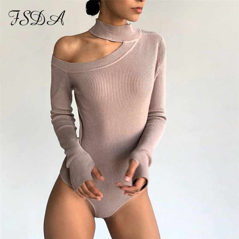 FSDA Long Sleeve Women White Bodysuit Hollow Out Fashion Knitted Autumn Body Winter Turtleneck Romper Top Sexy Bodysuits Casual