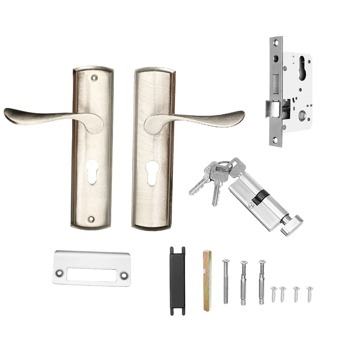 Mechanical Door Lock Set Aluminum Alloy Handle Deadbolt Latch Locks Interior Lockset Kit Home Office Security Door Hardware