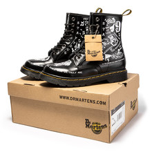 2021Women Boots Martens Graffiti Womens Ankle Boots Leather Cowboy Combat Boots Big Size 35-44 Leather Shoes