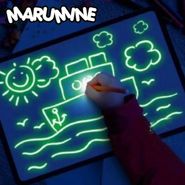 A3 A4 A5 Magic Luminous Drawing Board Draw With Light-Fun Sketchpad Board Fluorescent Pen Russian English Light Up Draw Toys 1