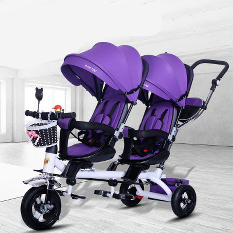 Baby Strollers Double Twin With Air Wheel  Universal Travel Baby Pram Children Tricycle Carriage For Sale Baby Push Trike