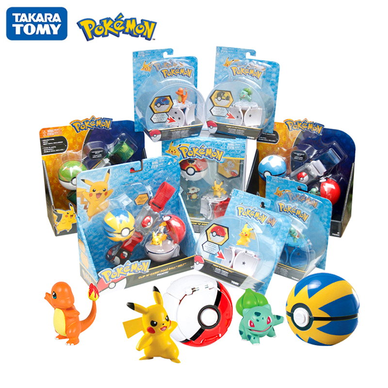 Genuine TOMY Pokemon Elf Ball Belt Pikachu Pokeball Pocket Monster Variant Toy Set cosplay Action Figure Model Kids Toy Gift 1