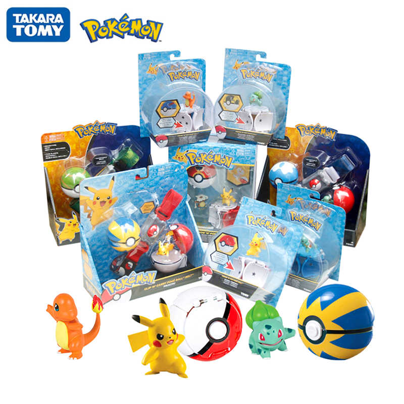 Asli TOMY Pokemon Elf Bola Belt Pikachu Pokeball Pocket Monster Varian Set Mainan Cosplay Action Figure Model Hadiah Mainan Anak