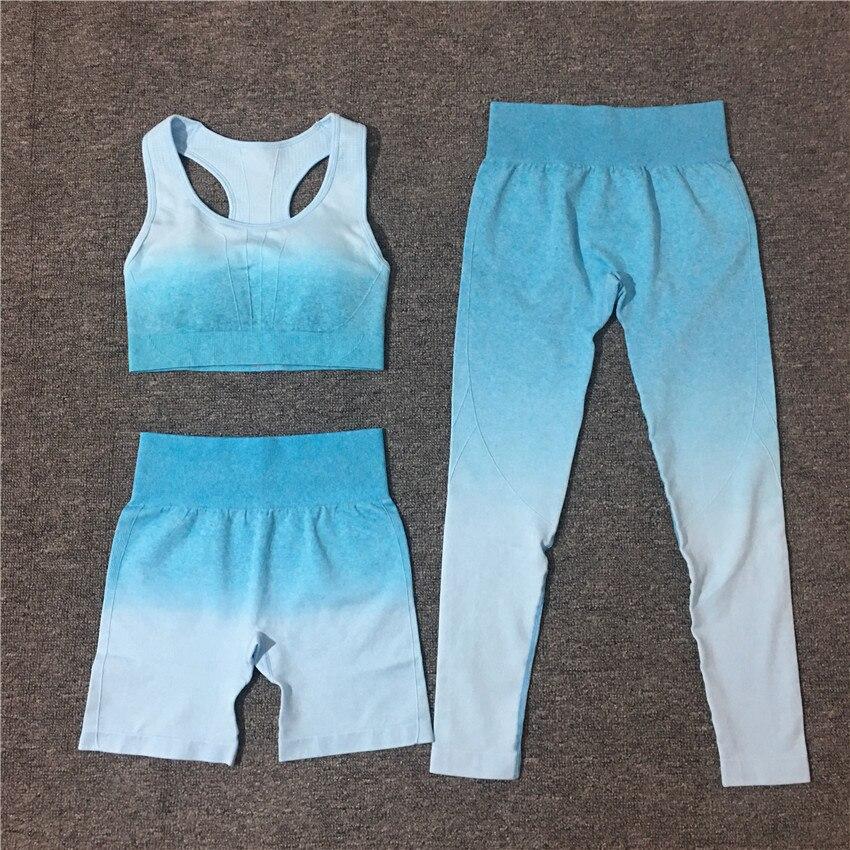 2/3Pcs Gradient Fitness Yoga Suit Sports Set Seamless Sportwear Women Bra+Shorts+Leggings High Waist Workout Outfit Gymwear New 6