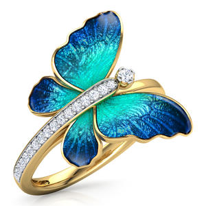FDLK Gorgeous Butterfly Design Ring Crystal Enamel Ring Engagement Rings Marriage Rings
