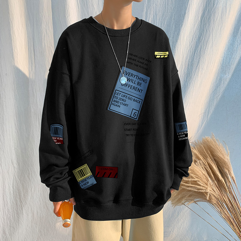 Autumn Spring 2021 Hoodies Sweatshirt For Men's Black Loose Hip Hop Punk Pullover Streetwear Casual Fashion Clothes OVERSize 5XL
