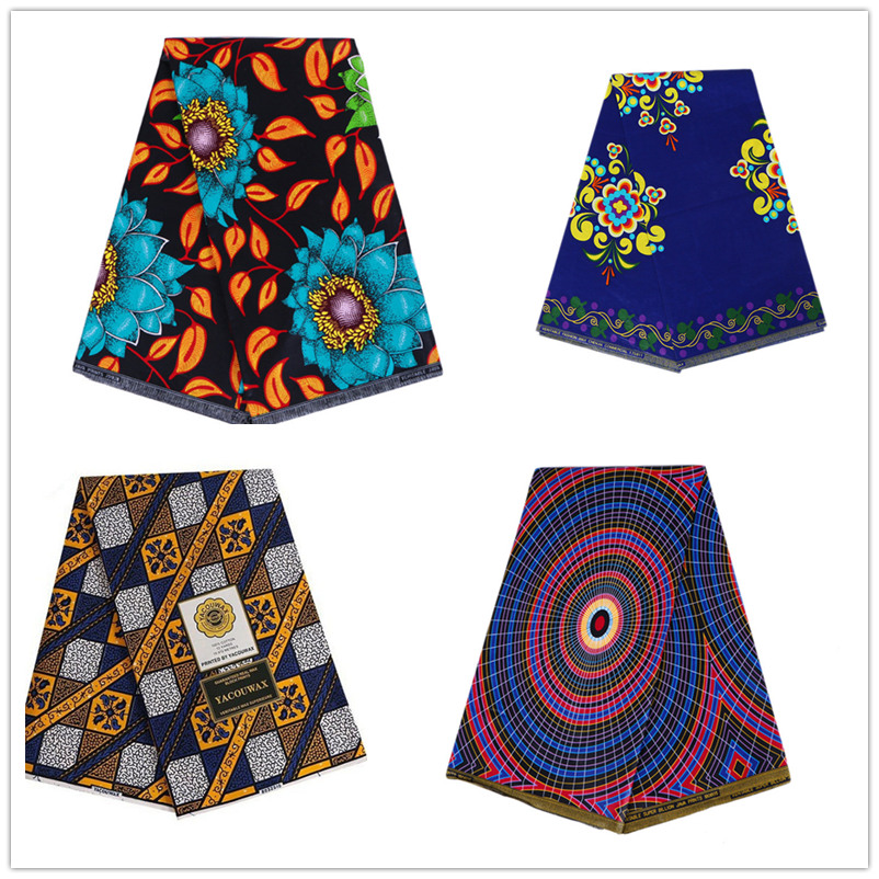 Ankara Fabric African Real Wax Print Tissu Africain 100% Cotton 6 Yards Veritable Wax African Batik Fabric For Wedding Dress
