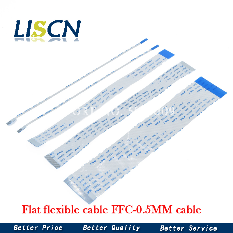 10 pces cabo flexível liso ffc fpc lcd cabo awm 20624 80c 60v VW 1 FFC 0.5MM|Conectores|   -