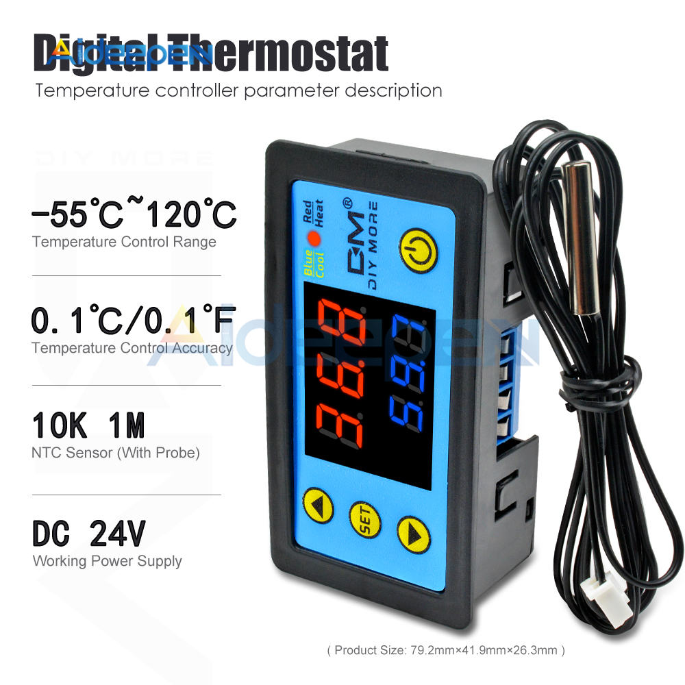 Hd60996eb67454d31ab8da6c22b4f424bf W3230 AC 110V-220V DC12V 24V Digital Thermostat Temperature Controller Regulator Heating Cooling Control Instruments LED Display