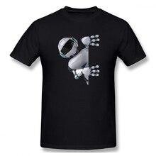 creative Robot Peeking Casual O-Neck Mens Basic Short Sleeve T-Shirt 100% Cotton Tee Shirt Printed