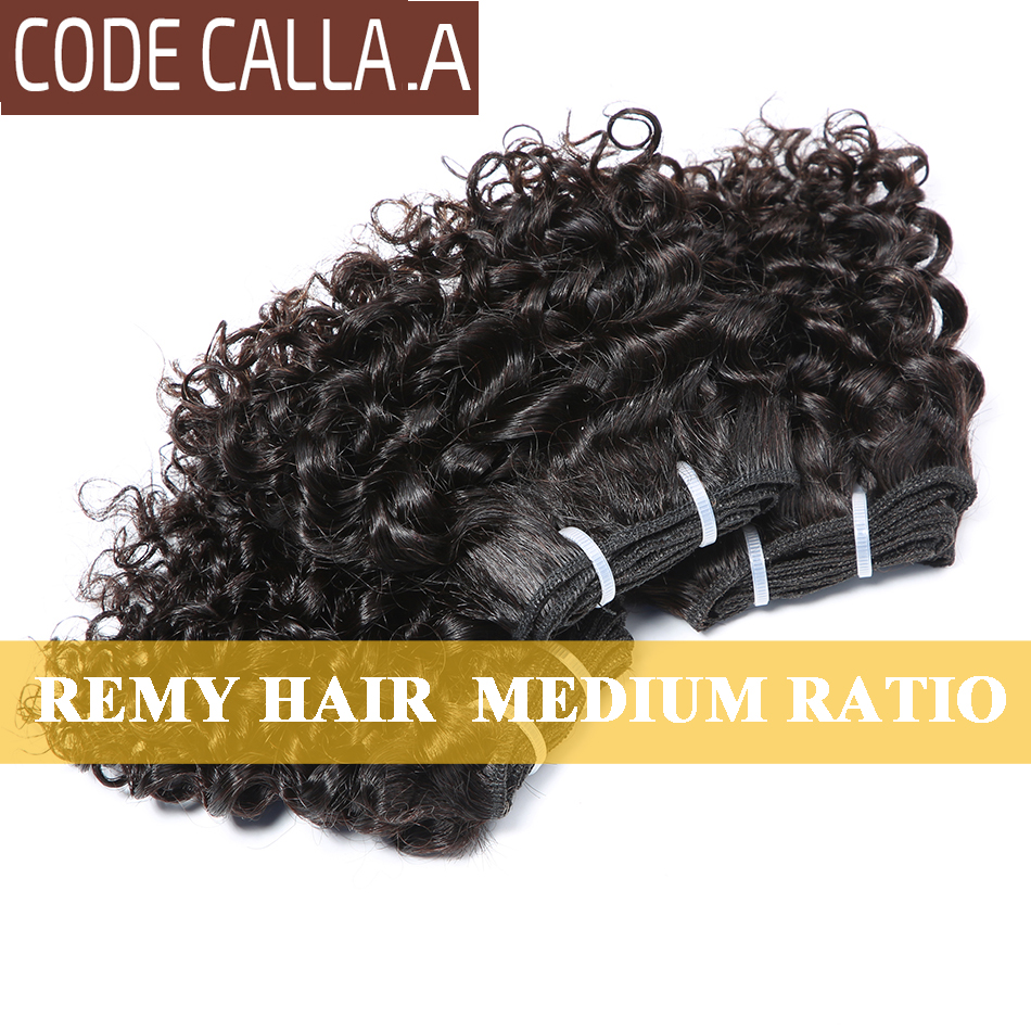 Short Kinky Curly Hair Weave Bundles CodeCalla Cheap Wholesale Price Indian Remy Human Hair Extensions Natural Black Brown Color 3