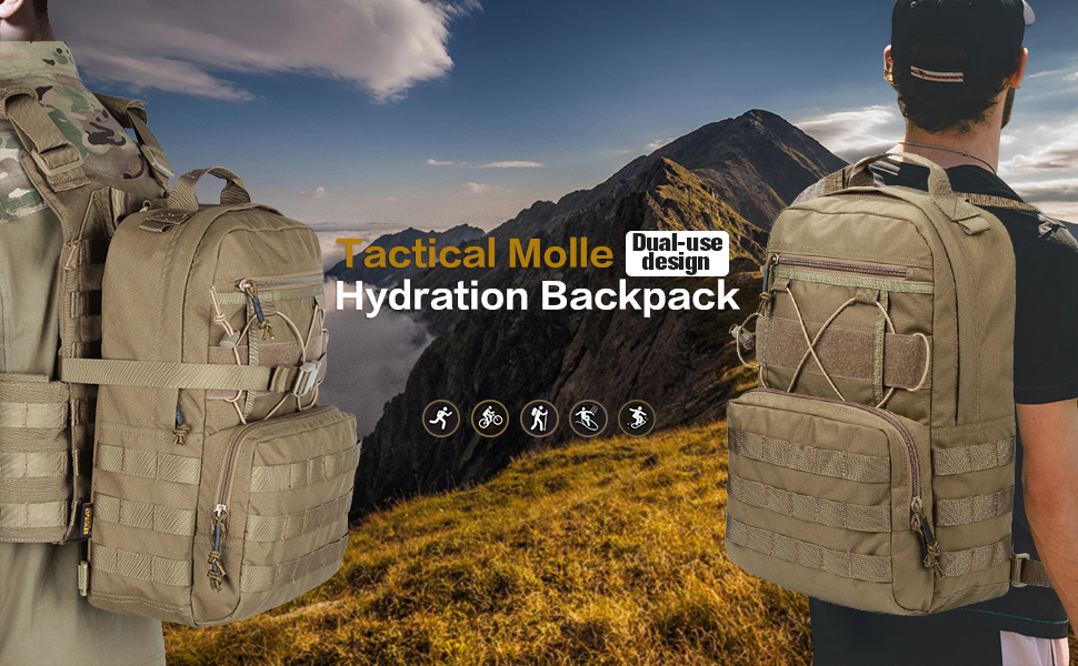 Outdoor Hunting Camping Hydration Backpack Molle Military Tactical Army Nylon Hiking Vest Hydration Bags