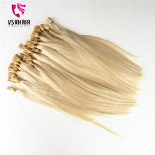 VSR 100% Human Hair Stick Tips 50 100 strands Machine Remy Flat Tip Human Fusion Hair For Salon Keratin Hair Extensions