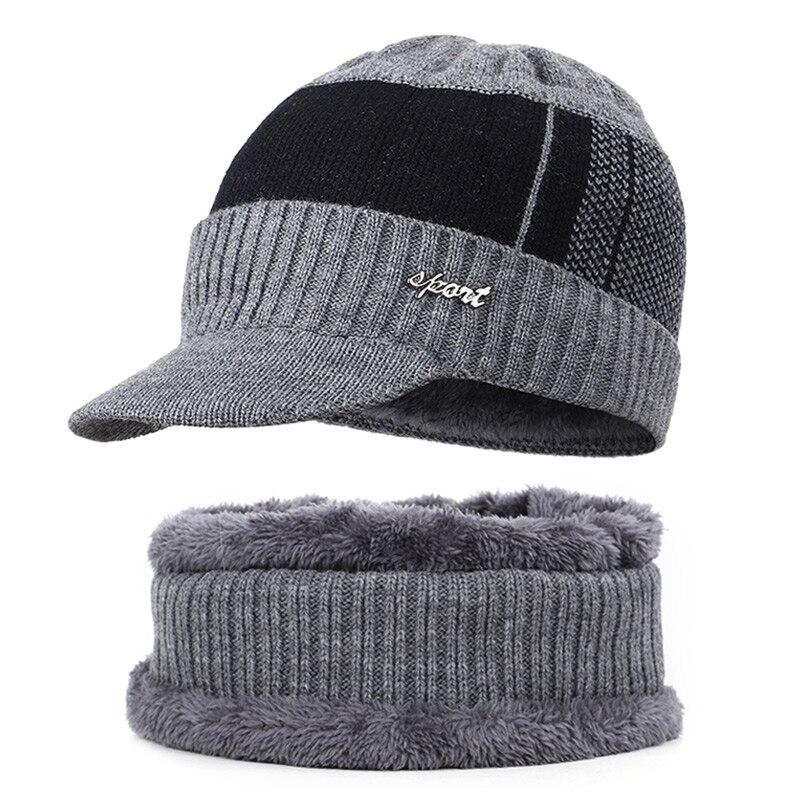 Новая мужская зимняя шапка, шарф с бархатными буквами, полосатая хлопковая шапка, нагрудник, 2 комплекта для мужчин и женщин, открытый теплый костюм, повседневный горошек - Цвет: Gray