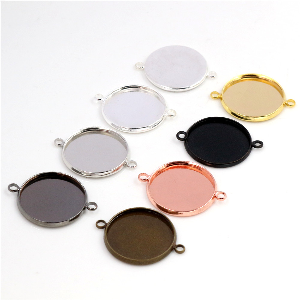 10pcs 20mm Inner Size 7 Colors Plated Classic Double Loops Style Brass Metal Cabochon Base Setting Charms Pendant