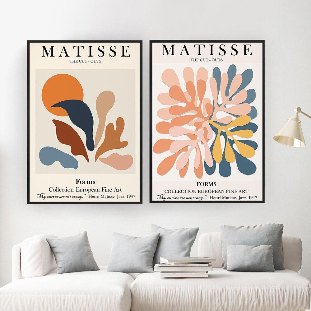 Цветочный постер с солнцем Matisse, современная абстрактная картина тропические растения, постеры с вырезами и принтами, Современное украшение для гостиной