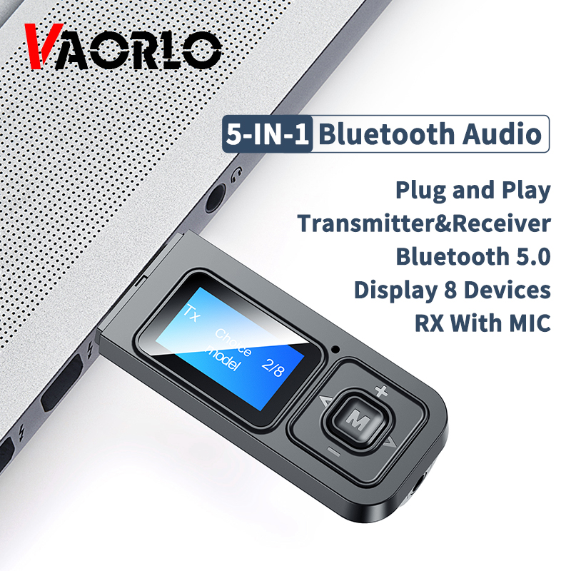 5-en-1 USB Dongle Bluetooth 5.0 Audio récepteur émetteur avec écran LCD Mini 3.5mm AUX RCA adaptateur sans fil avec micro pour TV
