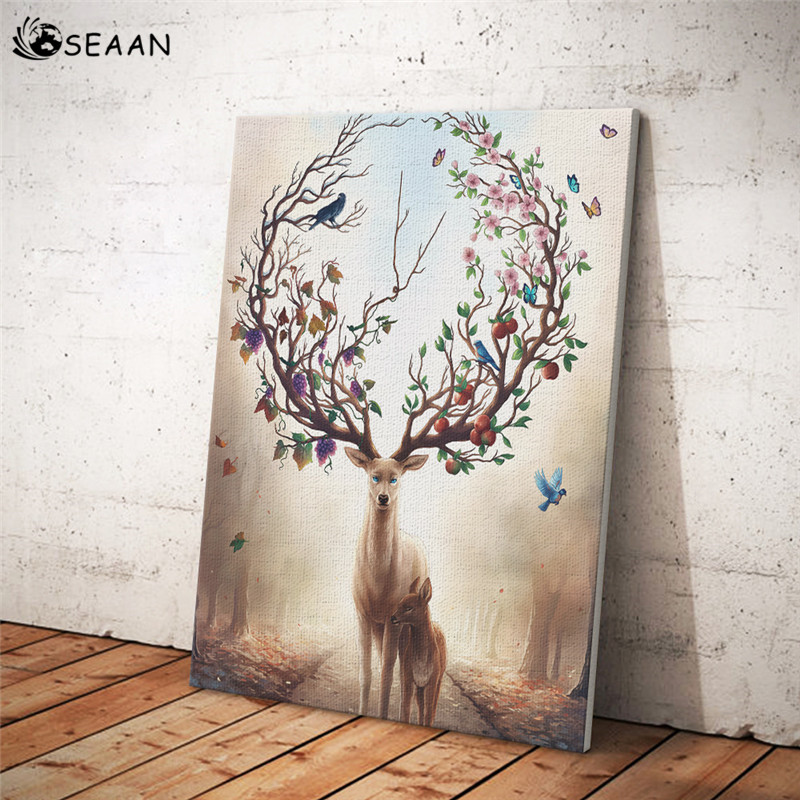 SEAAN Fairy Deer Oil Painting On Canvas Scandinavian Posters Prints Modern Wall Art Picture For Living Room