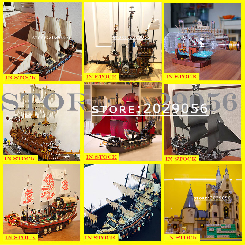 In stock Pirates of the Caribbean black Pearl Ship Boat Pirate Movie Series Model 16002 16006 16009 16016 16042 16051 22001 Toys image