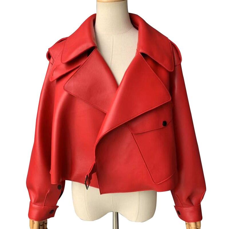 Jaqueta de couro genuíno feminino real sheepshin casaco de couro 2019 primavera nova moda jaqueta de couro real