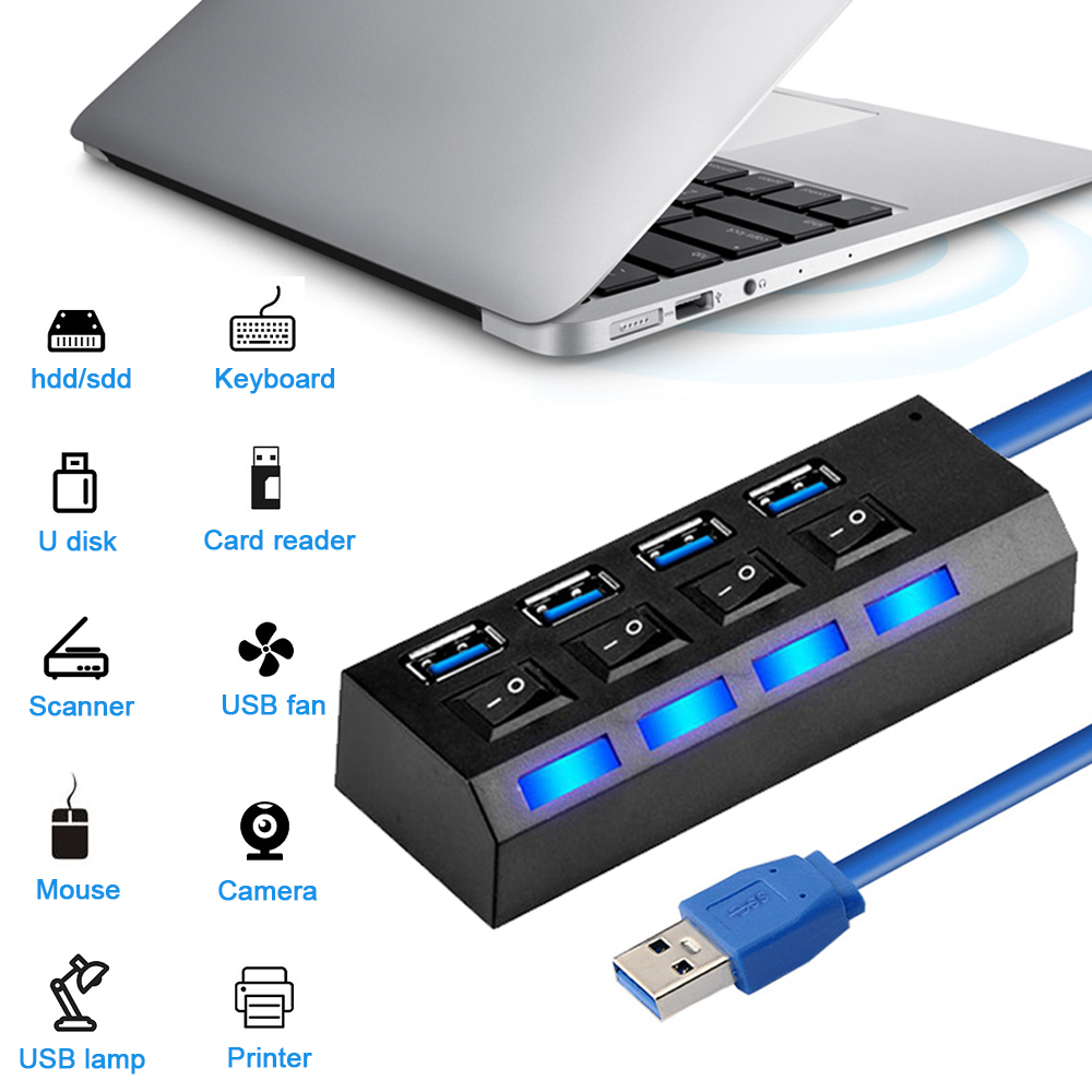 USB Hub 3.0 Multi USB Port 3/4/7 Ports 2.0 Hub USB High Speed Hab With On/off Switch USB Splitter For PC Computer Accessories