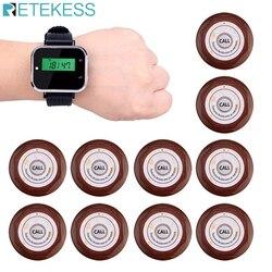 Restaurante sistema de chamada sem fio garçom chamada pager 1pcs relógio receptor + 10 pcs botão transmissor chamada f3300