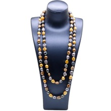 Women's colorful long necklace, 11mm pearls, natural irregular baroque, long dress engagement necklace, women's pearl necklace [daimi] grey color pearl necklace 160cm long sweater chain natural pearl long necklace 8 9mm rice pearl beach style 2017 new