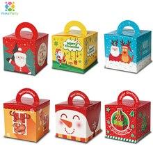 Cajas de Regalo de caramelos de dibujos animados de Navidad para niños, decoración de Feliz Navidad, bolsa de caja de regalo para fiesta de Navidad, 12 Uds., 2019