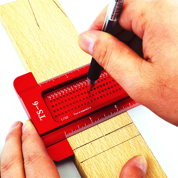 Woodworking inch Hole Scriber Ruler Aluminum Alloy T Type Woodwork Mini Scribe Carpentry Marking Crossed Measuring Tools carpentry scriber double headed scribe blade woodworking double line marking gauge ruler tools for carpenters