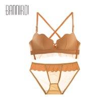 2 Pcs Active Bra Briefs Sets Seamless Push Up Underwear For Woman Lingerie Lace Bras Panties BANNIROU