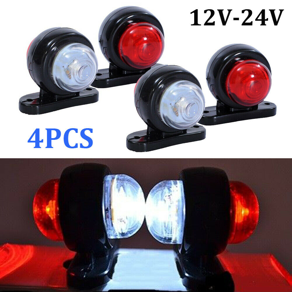 4pcs DC 12V-24V Truck Trailer Lorry RV 2LED Side Marker Lights Gap Indicator Warning Parking Rubber Light Lamp Universal
