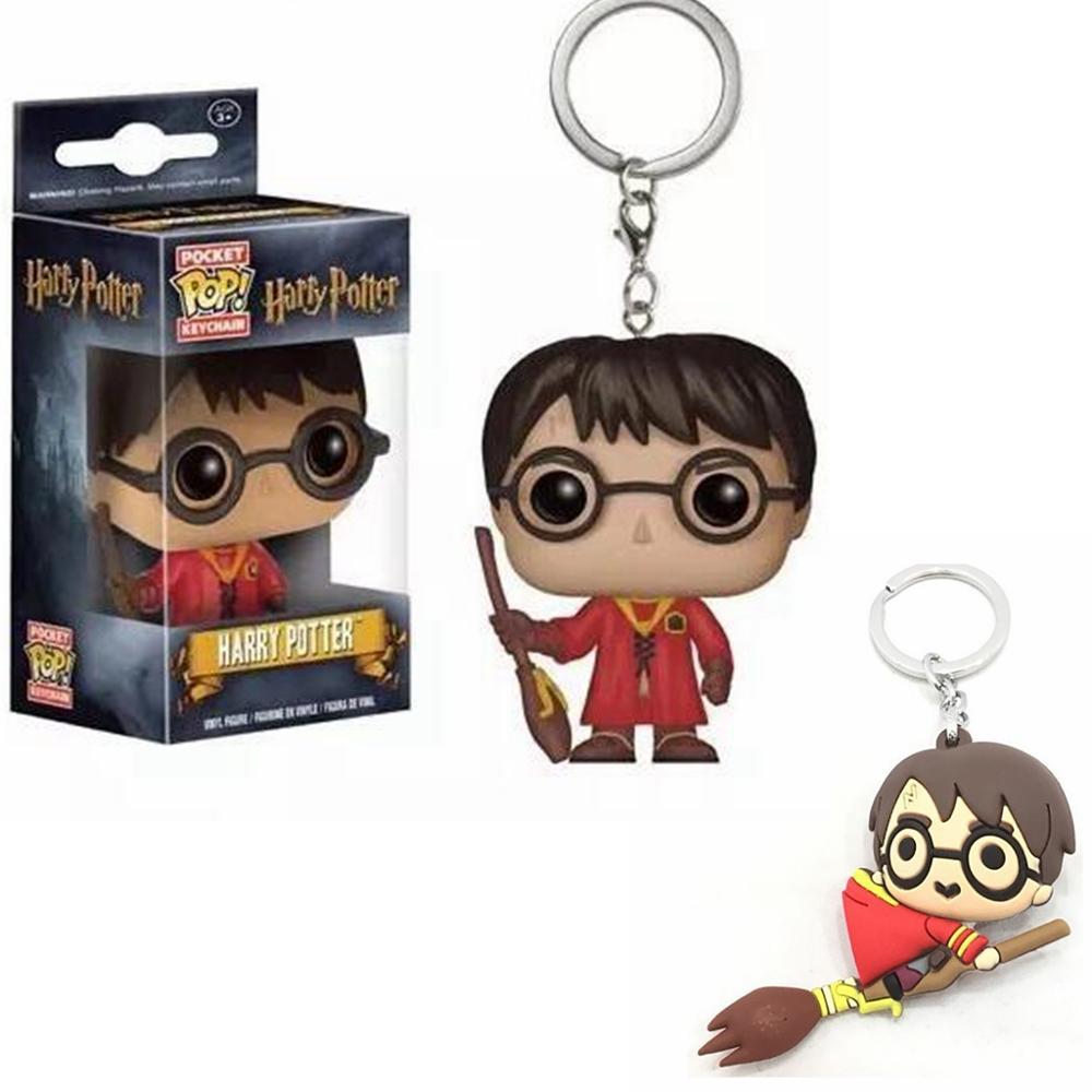 Harri Potter Ron Weasley Hermione Granger Draco Malfoy Cartoon Characters PVC Pendant Keychain Keyring Ornament Cosplay Gift